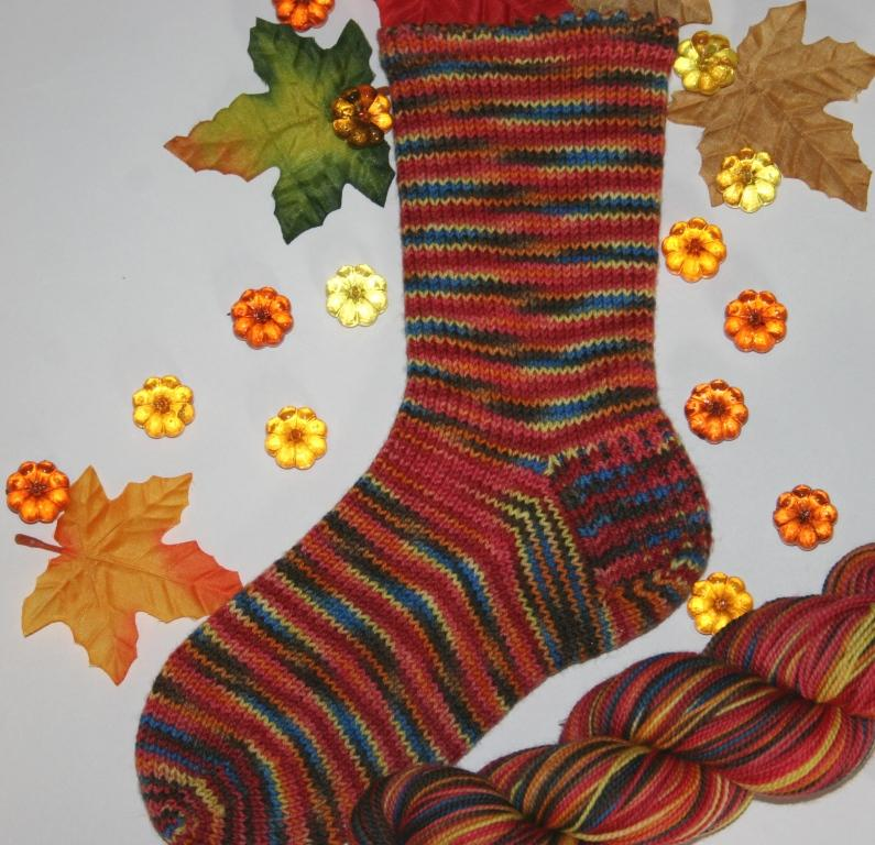 Charlie brown fall photo of sock